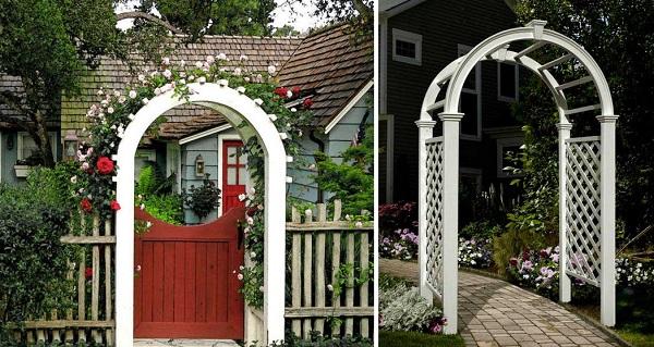арка опора для цветов перед входом в садовый дом