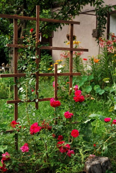 опора в саду для вьющихся роз