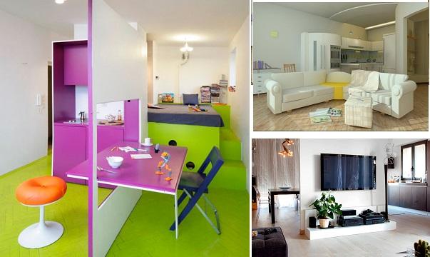 зонирование кухни и совмещённого зала