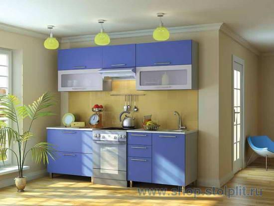 шкафчики на кухню голубого цвета